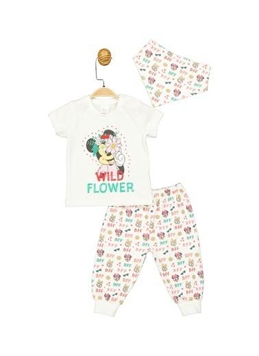 Minnie Mouse Lisanslı Bebek 3'Lü Takım 17336 Ekru